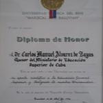 Diploma de Honor otorgado por la Universidad Autónoma del Beni