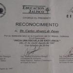 Reconocimiento otorgado por Educación Jalisco