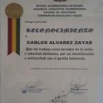 Reconocimiento otorgado por la Cámara de Diputados Comisión Educación y salud de Bolivia