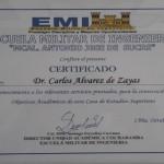 Reconocimiento otorgado por la Escuela Militar de Ingeniería